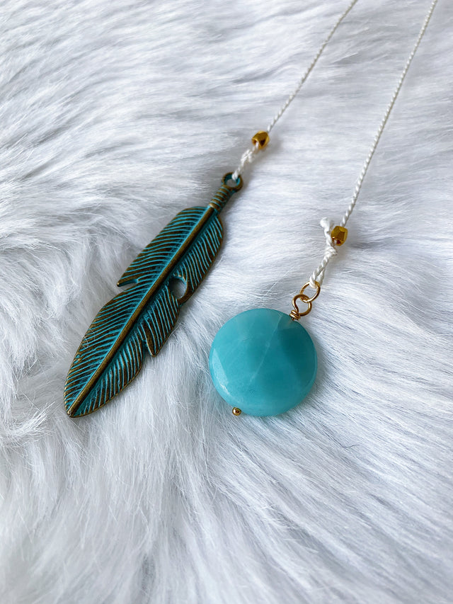 Amazonite & Feather Bookmark