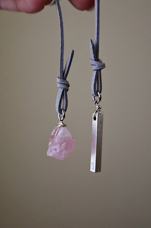 Raw Rose Quartz Silver Bookmark
