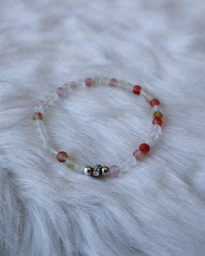 Cherry Quartz & Pyrite - Silver