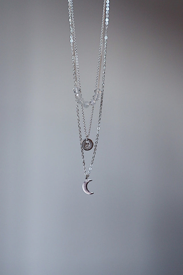 Tiny Sun Coin Necklace - Silver