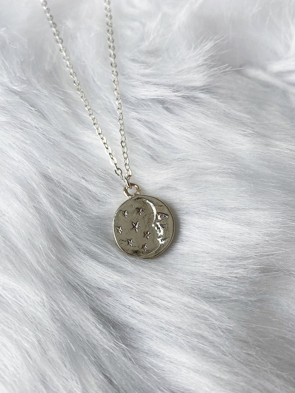 Moon and Star Coin Necklace - Silver