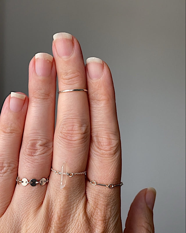 Crystal Point Chain Ring - Silver