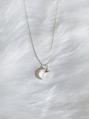 Moonstone Luna Necklace - Silver