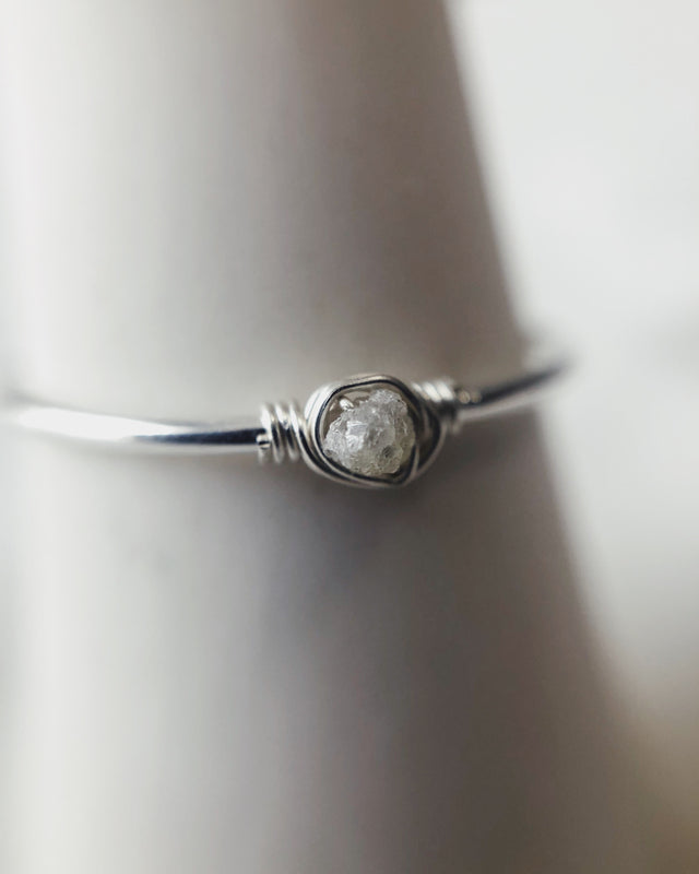 Raw Diamond Ring - Silver