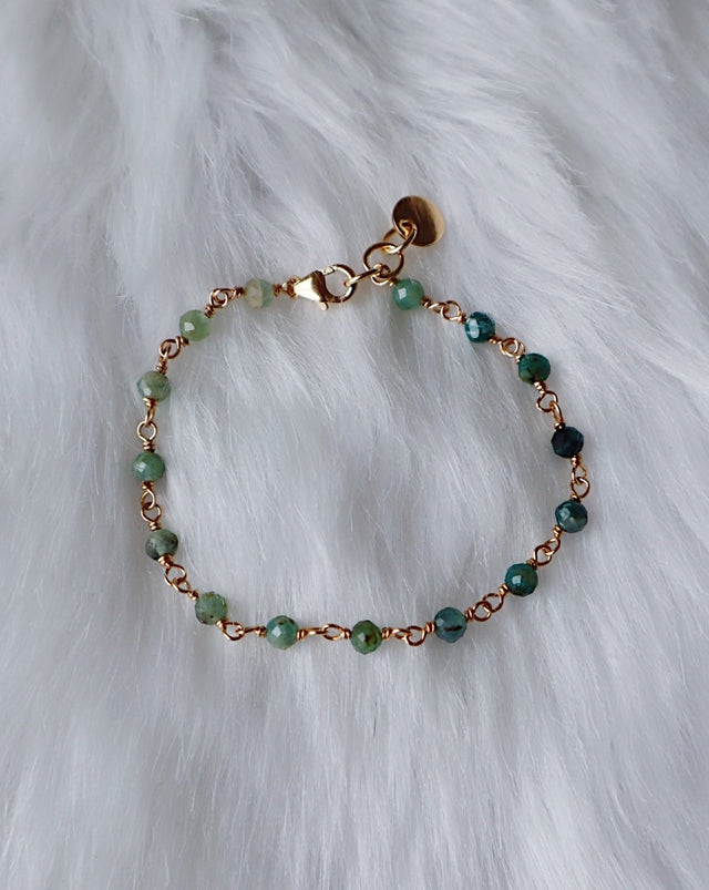 Wire Wrapped Grandidierite Bracelet - Gold