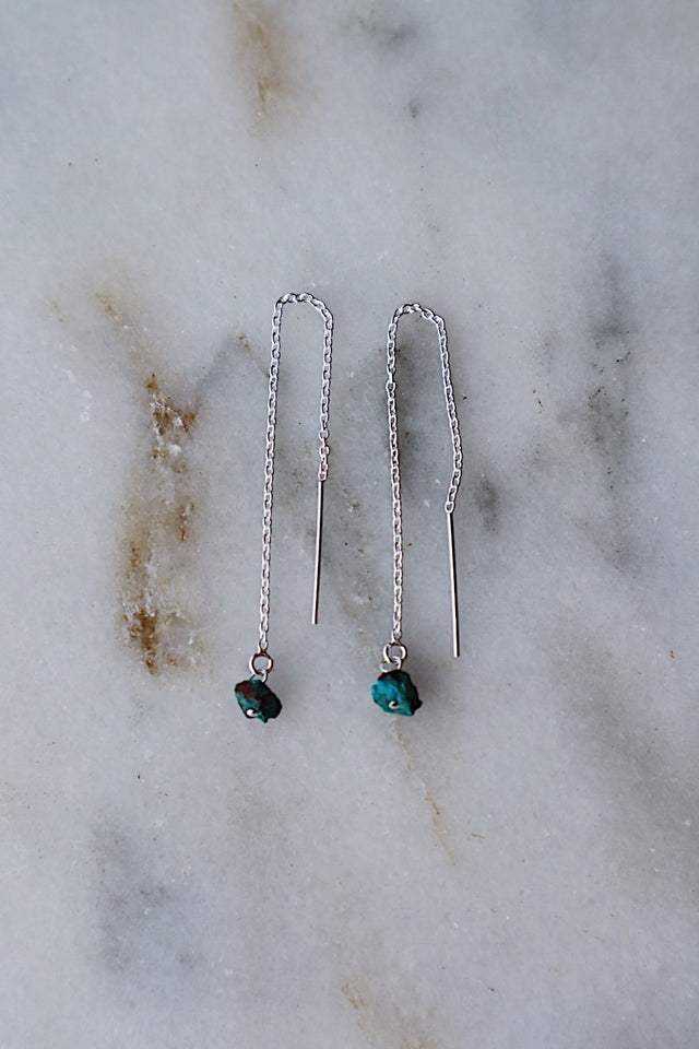 Chrysocolla Threaders - Silver