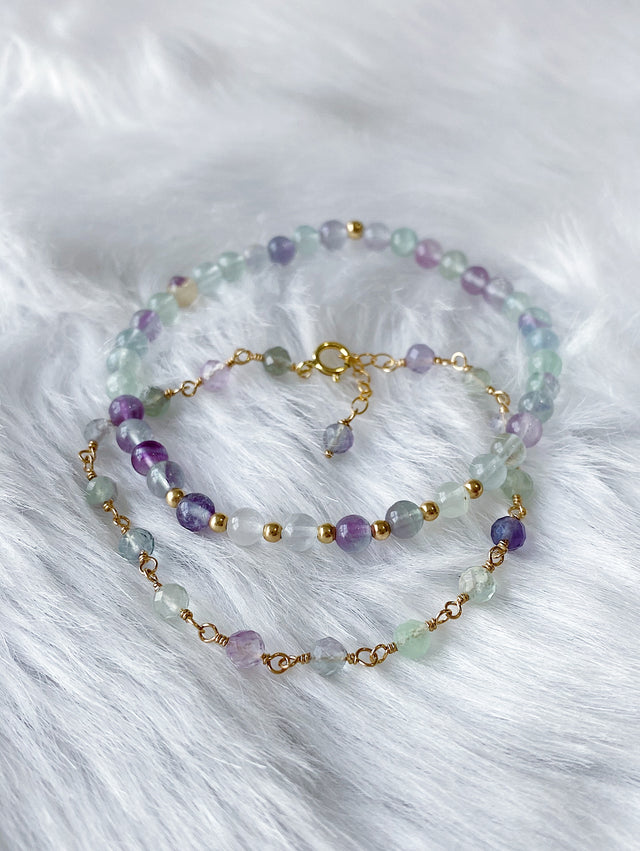 Wire Wrapped Fluorite Bracelet - Gold