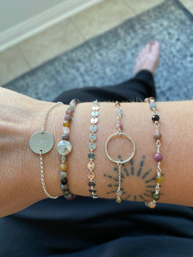 Circle Bracelet with Tourmaline - Silver