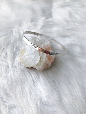 Dapped Vegan Bangle - Silver