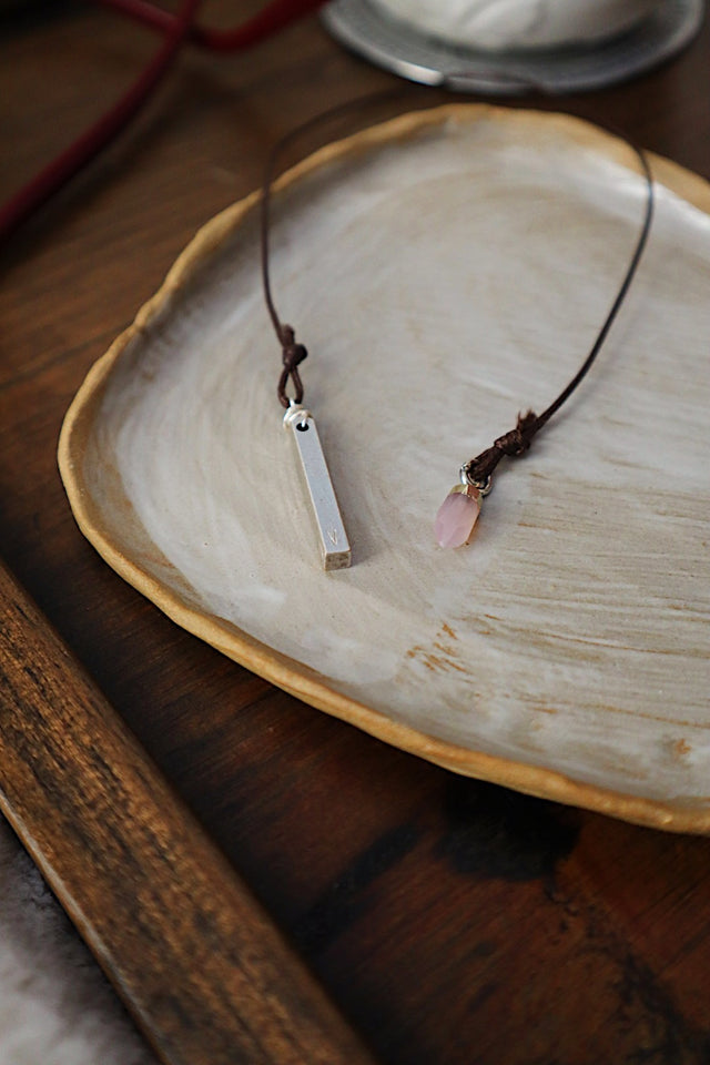 L O V E Bar with Rose Quartz Silver Bookmark