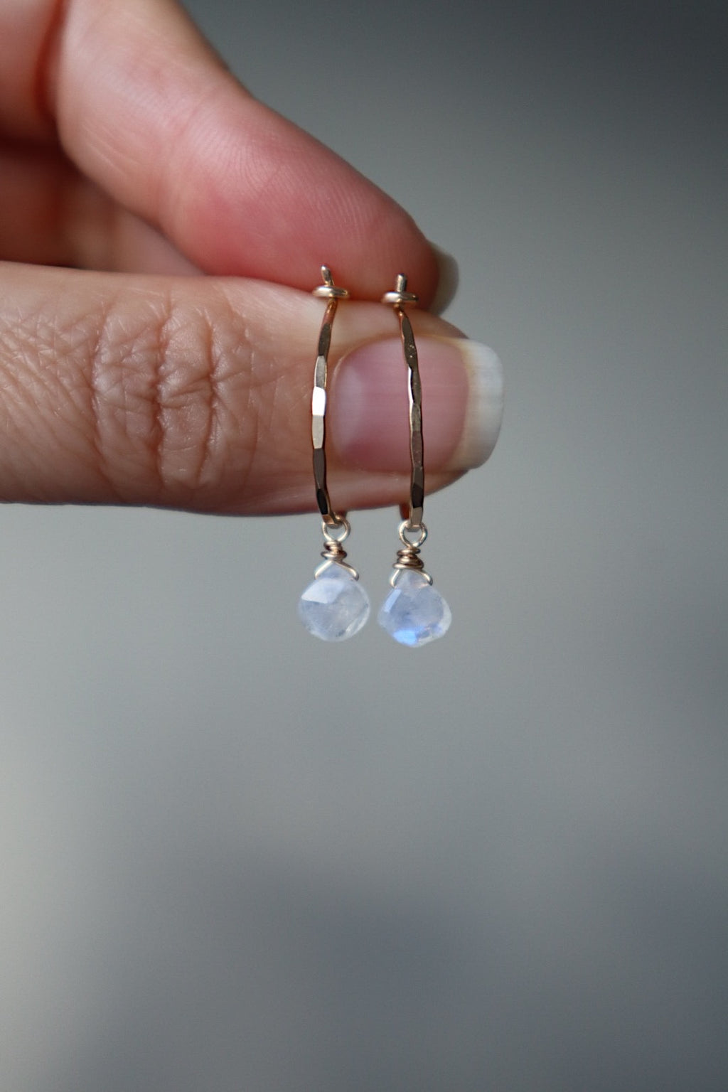 Extra Small Moonstone Hoops - Gold