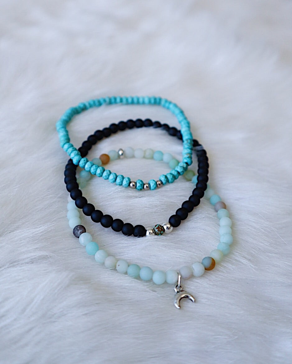 Matte Onyx & Turquoise - Silver