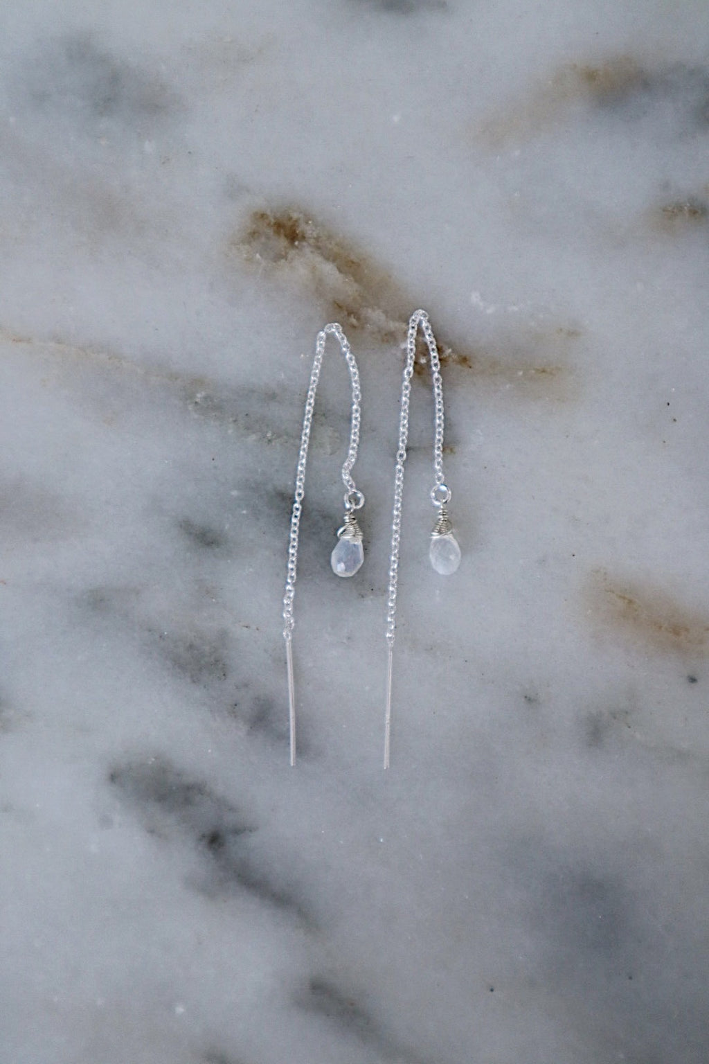 Moonstone Long Threaders - Silver