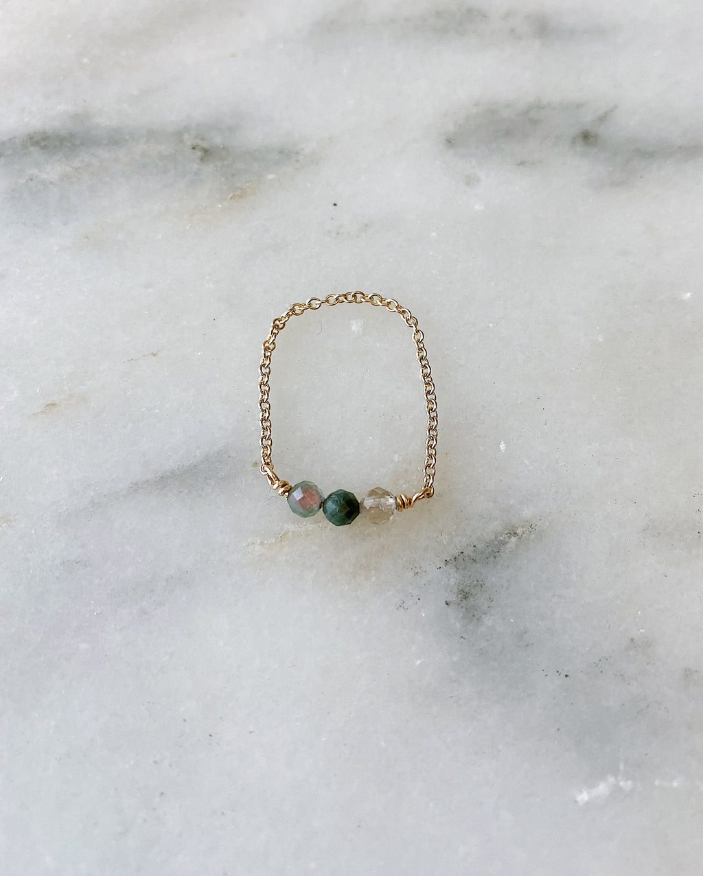 Watermelon Tourmaline Chain Ring - Gold