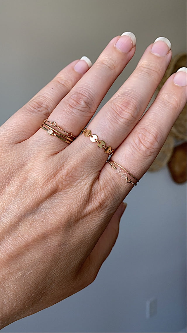 Tiny Coin Chain Ring - Gold