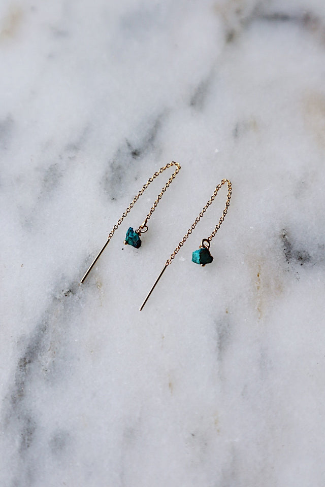 Chrysocolla Threaders - Gold
