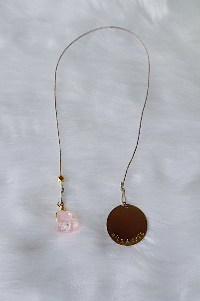 Raw Rose Quartz & Stamped Gold Coin Bookmark