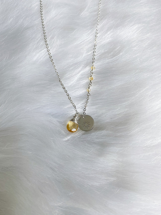 Sun & Citrine Necklace - Silver