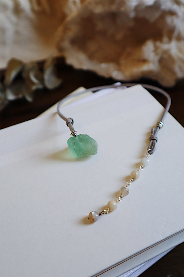 Fluorite & Grey Moonstone Bookmark