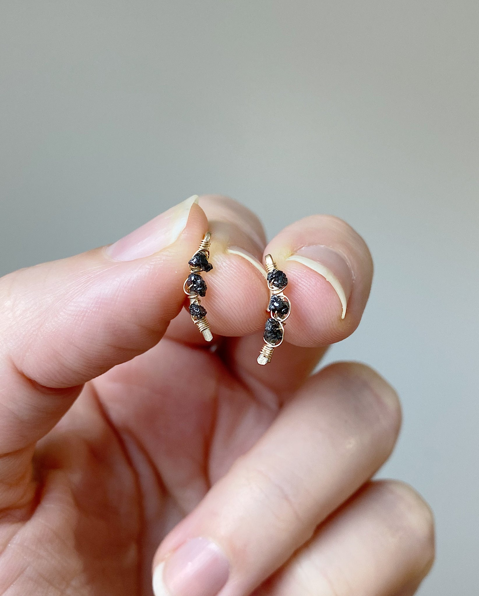Raw Black Diamond Mini Comet Ear Climbers - Gold