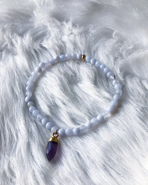 Blue Lace Agate with Amethyst - Gold