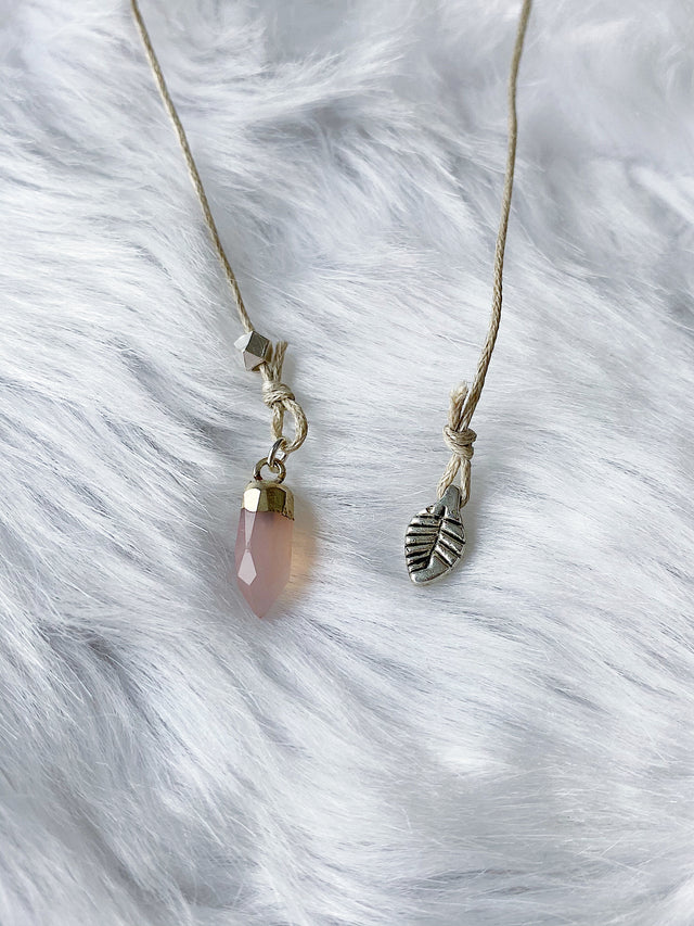 Silver Leaf and Rose Quartz Bookmark