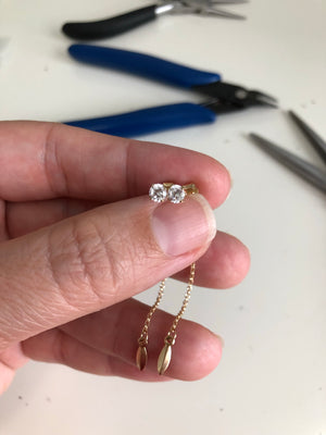 CZ Post Earring with chain drop - gold