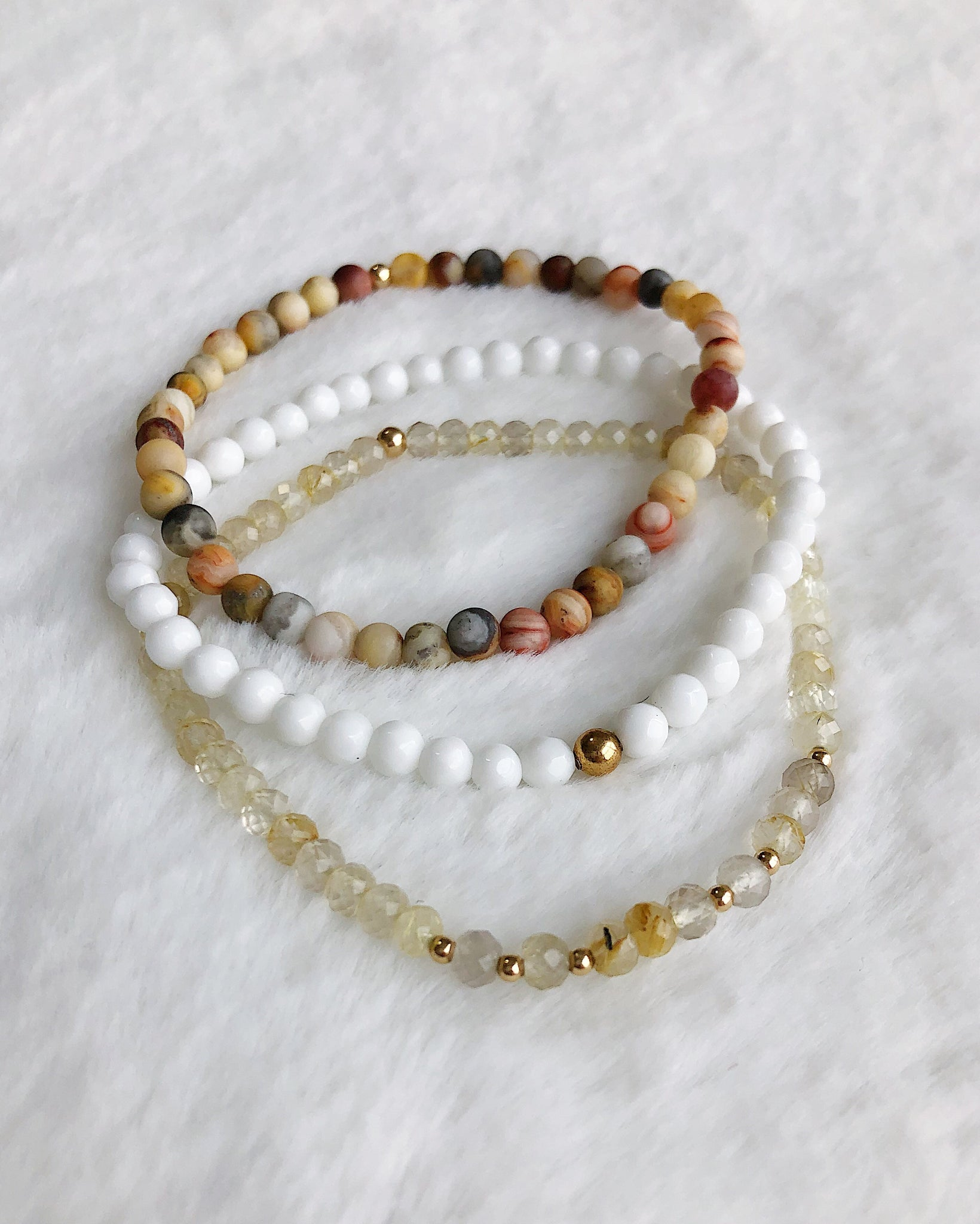 Quartz Agate Jade Stack - Gold