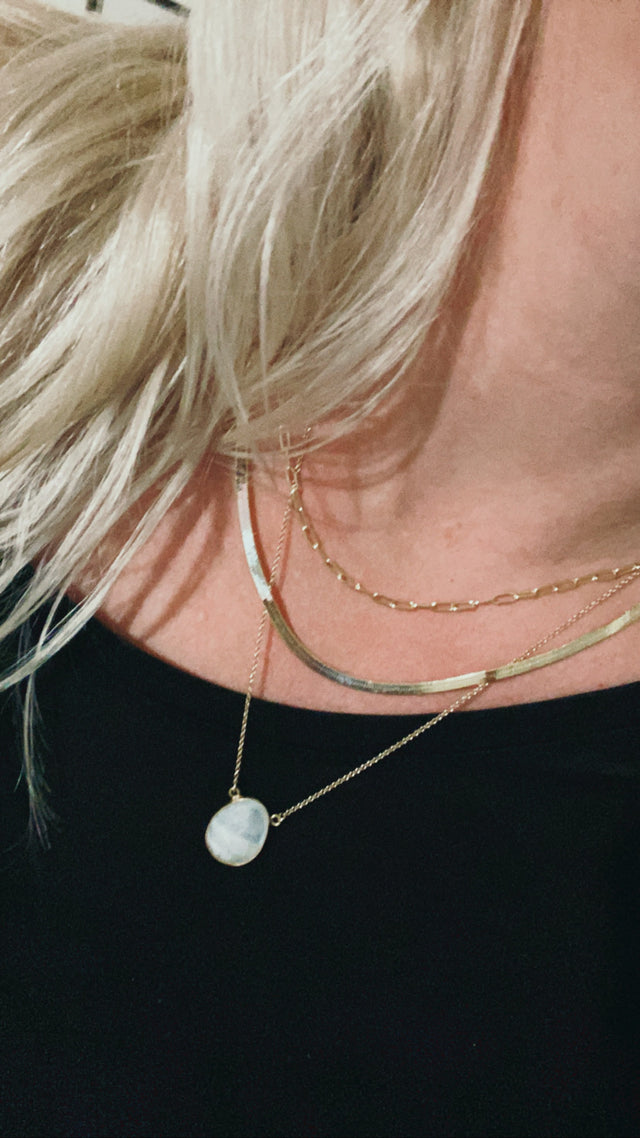 Paper Clip Chain Necklace - Gold