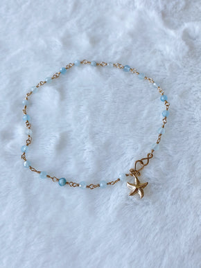 Gold Wire Wrapped Aquamarine Anklet ~ Morph