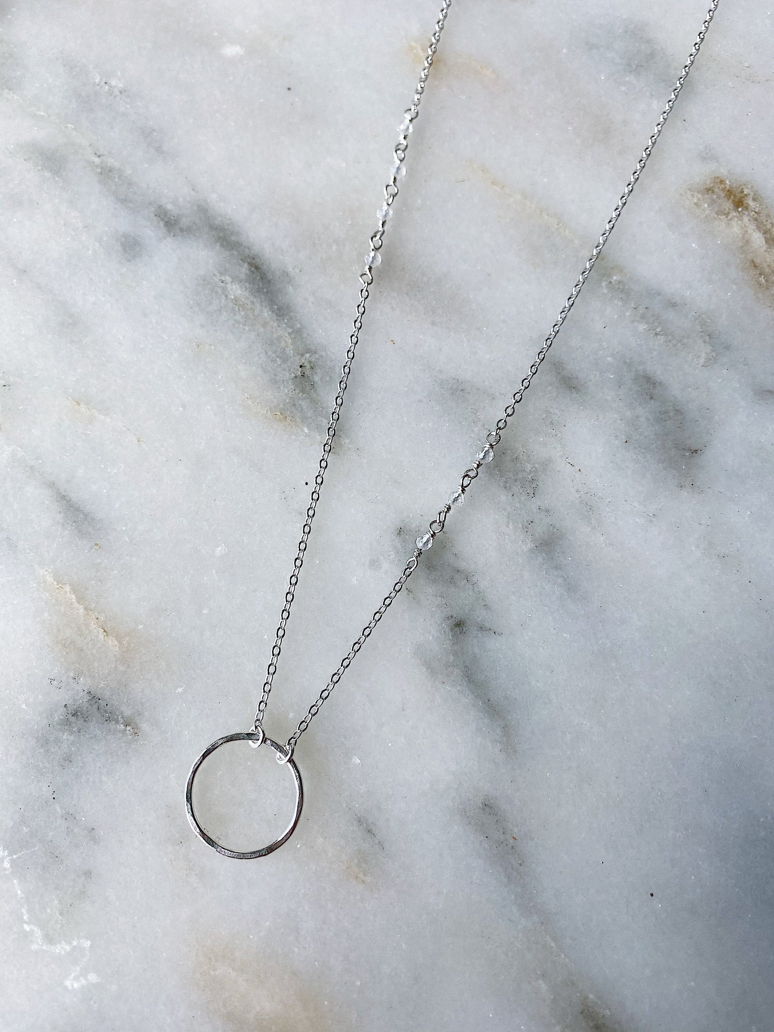 Circle Necklace with Clear Quartz - Silver