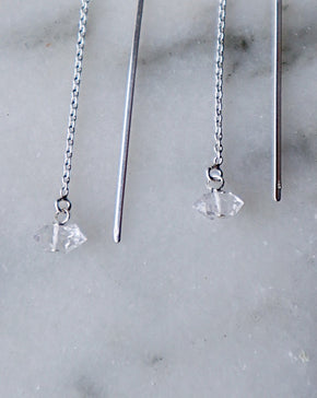 Herkimer Diamond Threader Earrings with Long Bar - Silver