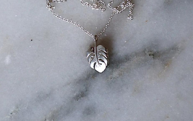 Monstera Leaf Necklace - Silver