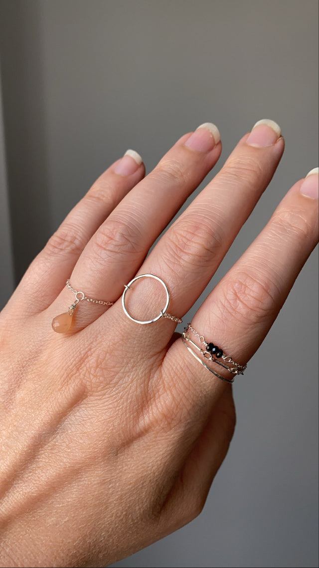 Briolette Chain Ring - Gold