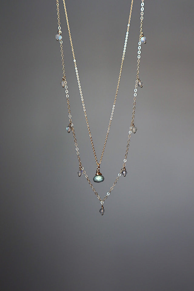 Labradorite Dripping Gems Necklace - Gold