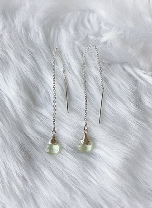 Green Amethyst Threaders - Silver