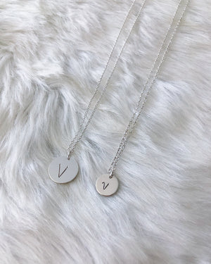 Tiny Initial Coin Necklace - Silver