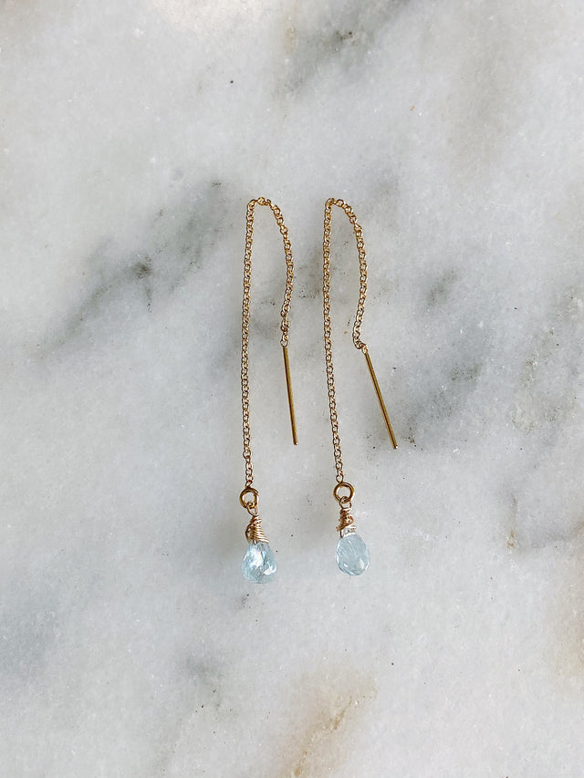 Aquamarine Briolette Threaders - Gold