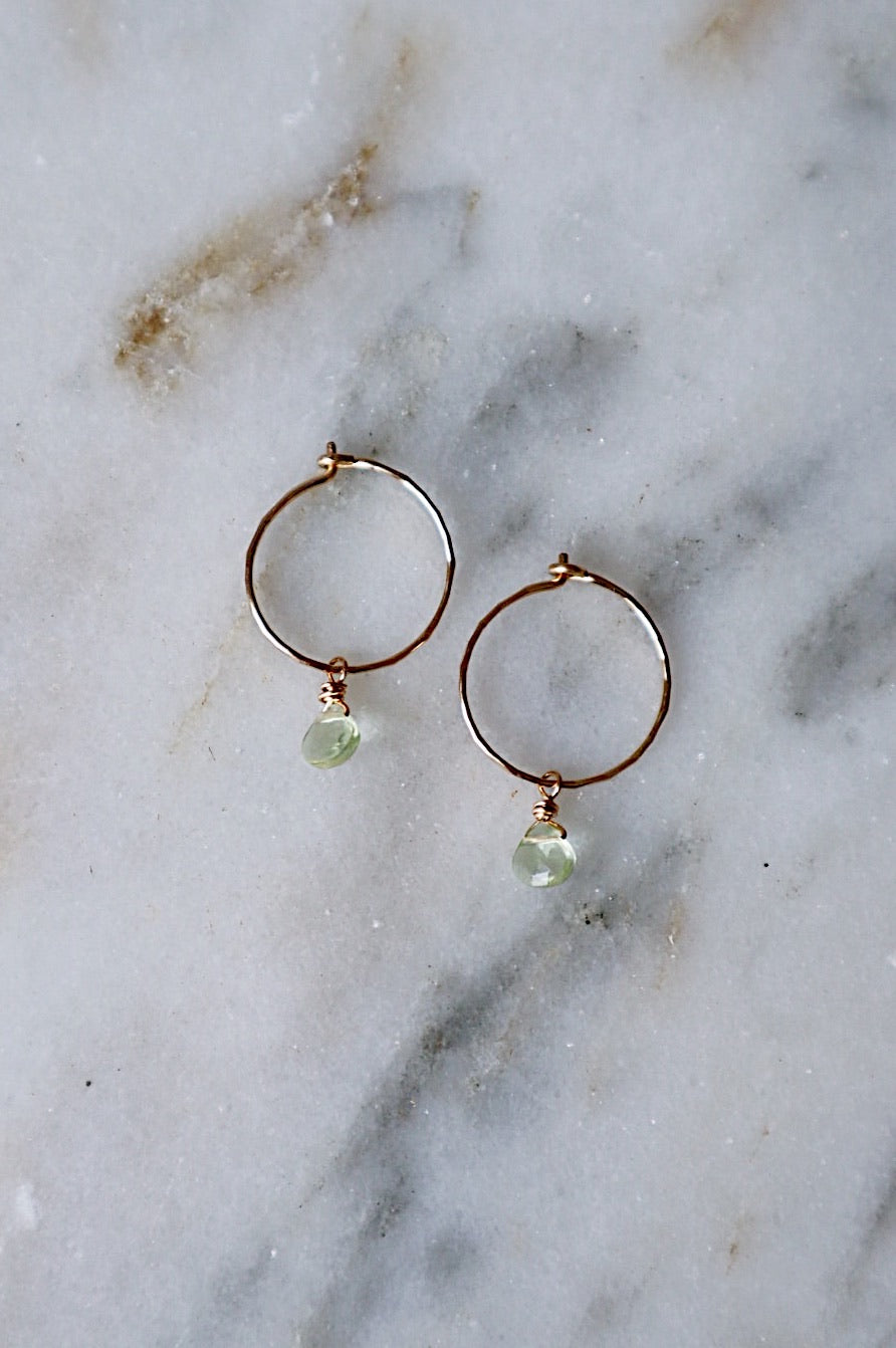 Extra Small Gold & Green Amethyst Hoops