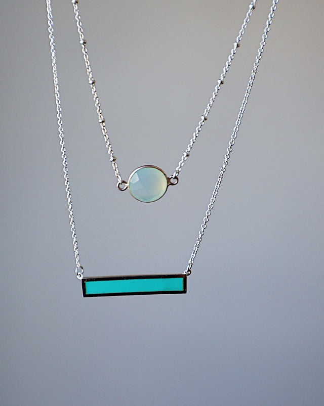 Turquoise Waters Bar Necklace - Silver