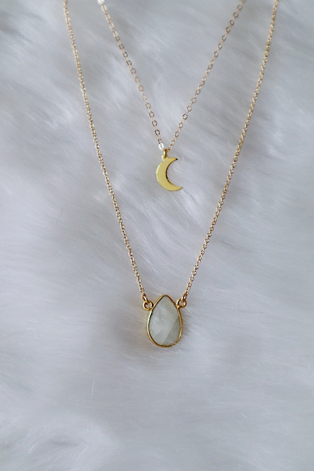 Faceted Teardrop Necklace - Gold