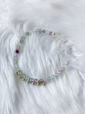 Fluorite Bead Drop Stretch Bracelet - Silver