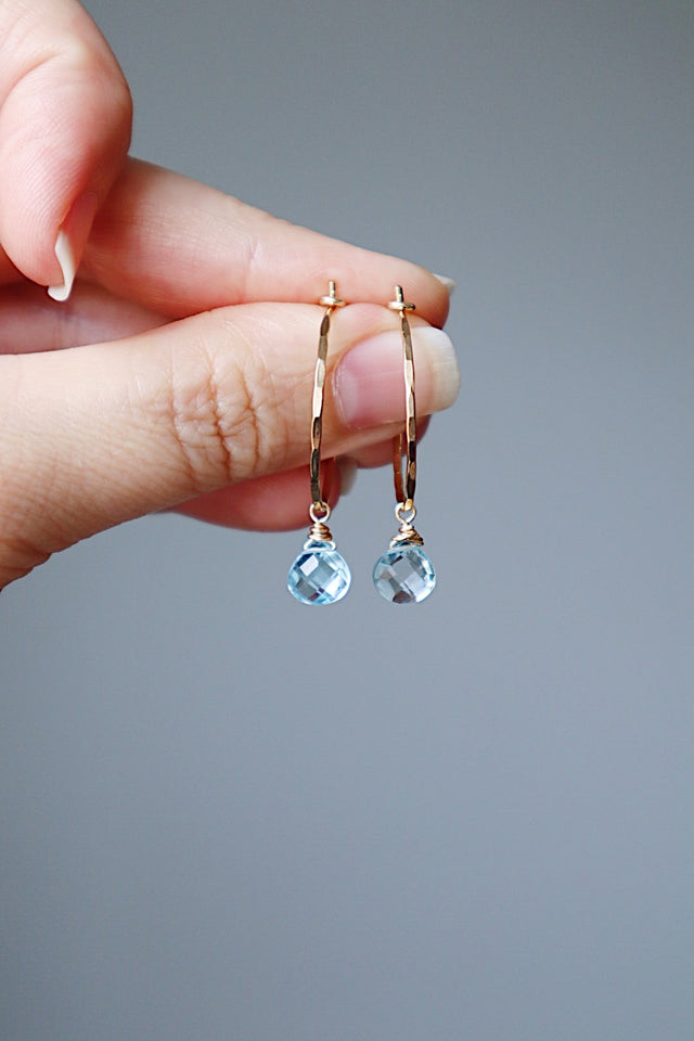 Small Gold & Blue Topaz Hoops