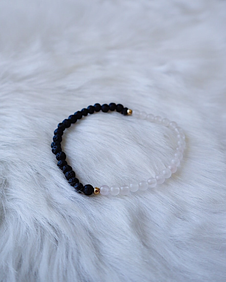 Rose Quartz Diffuser Bracelet - Gold