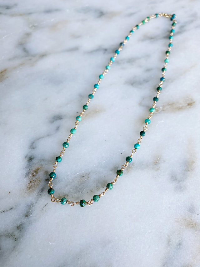 Wire Wrapped Chrysocolla Necklace - Gold