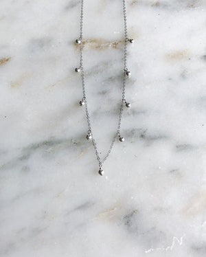 Dripping Gems Necklace - Silver