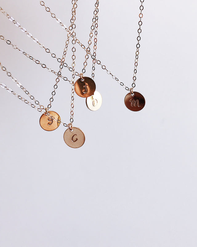 Tiny Initial Coin Necklace - Gold