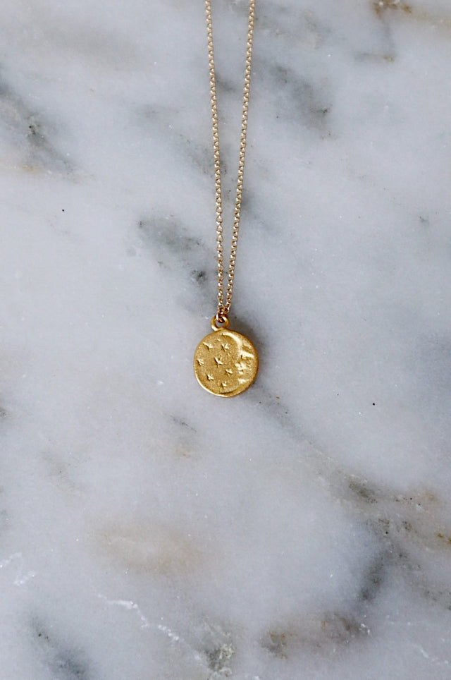 Moon and Star Coin Necklace - Gold