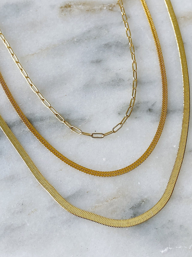 3mm Herringbone Chain - Gold