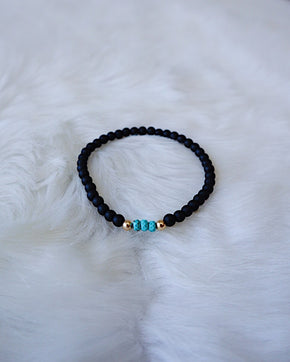 Matte Onyx with Turquoise - Gold